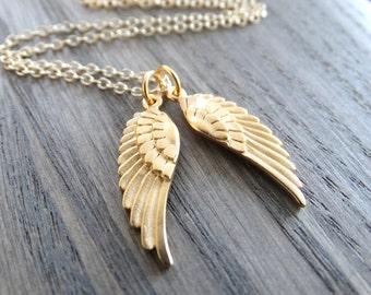 Gold Angel Necklace angel wings Angel wings guardian Angel necklace Angel wings  Charm