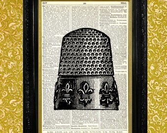 Thimble Fleur de Lis Dictionary Book Page Art Print, Sewing or Craft Room Decor, Recycled Upcycled Vintage Book Page Art, Home Decor