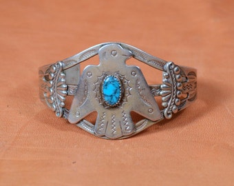 Vintage 20s/30s Fred Harvey Era Thunderbird Eagle Cuff Bell Trading Co. Nickel Silver /Faux Turquoise Native American Bracelet 2 Available