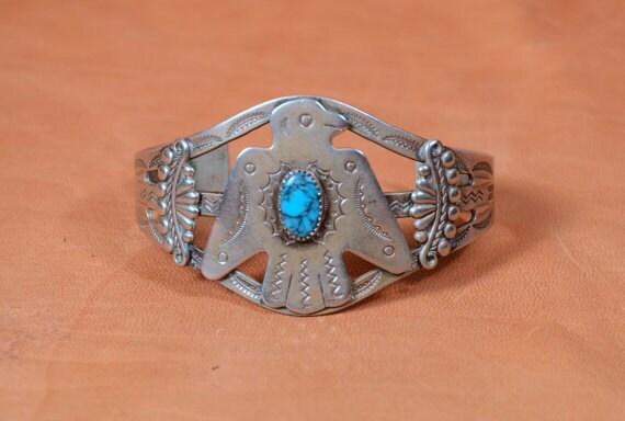 Vintage 20s 30s fred harvey era thunderbird eagle cuff bell for Thunderbird jewelry albuquerque new mexico