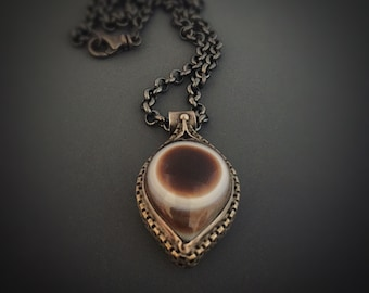Botswana Eye Agate Sterling Silver Pendant Necklace
