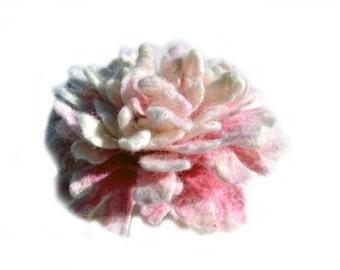 Felted flower brooch pin, peony wool flower, pink felt flower