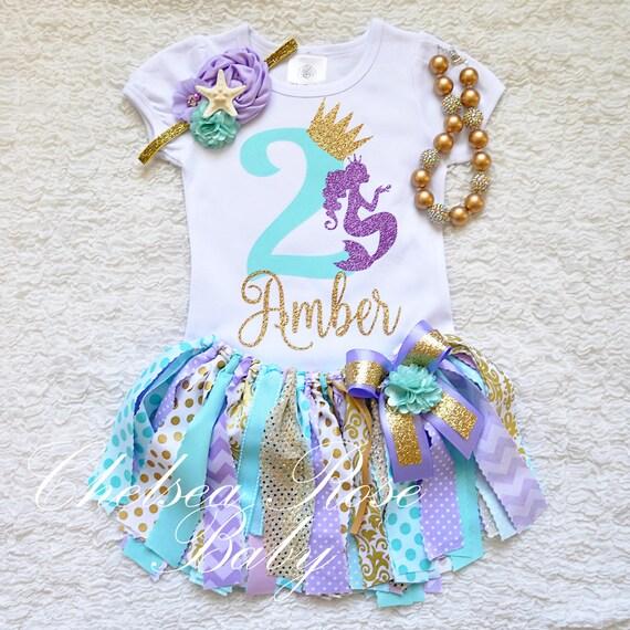 Mermaid Aqua Lavender Gold 1st Birthday Tutu Set 2nd Birthday