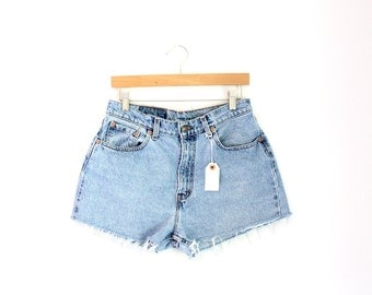 "Waist 31.5"" High Waisted Vintage Levi Denim Shorts"