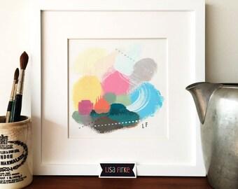 Summery abstract landscape art print
