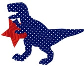 Iron on fabric applique dinosaur T rex with star 4th of July DIY