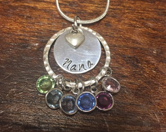 Mothers Silver Personalized Birthstone Necklace