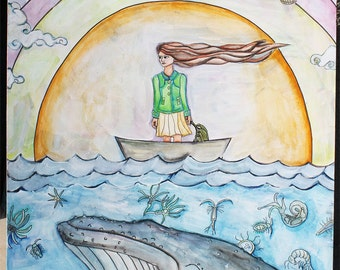 Original painting- whimsical girl in boat with whale