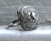 RESERVED - Gorgeous Antique Platinum Diamond Cluster Engagement Ring - 3.17ct.