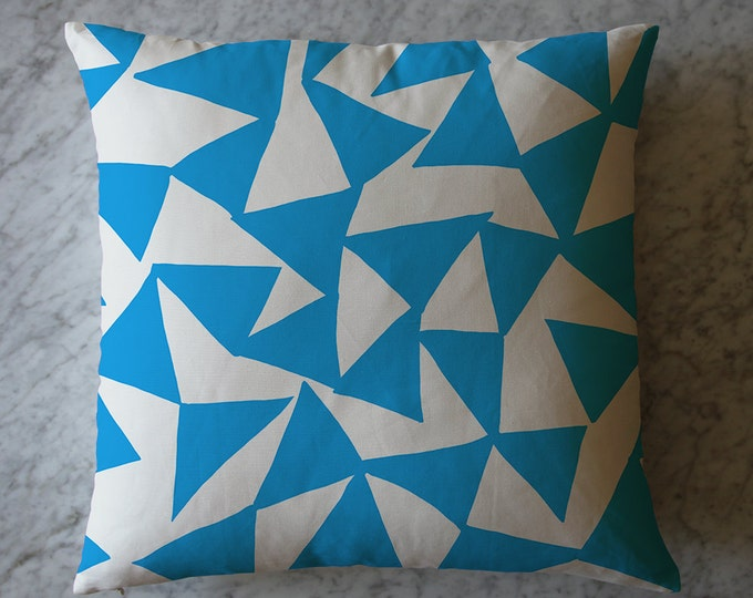 Pillow with Turquoise Triangles.  March 1, 2016
