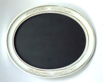 Oval Framed Chalkboard Vintage Homco Frame White Goid Blackboard