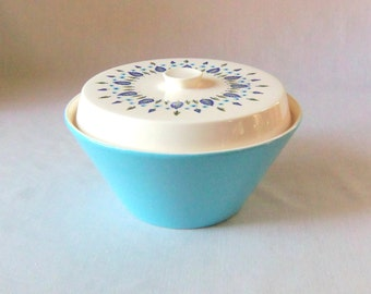 Vintage Covered Casserole Serving Dish Turquoise Marcrest Swiss Alpine Chalet