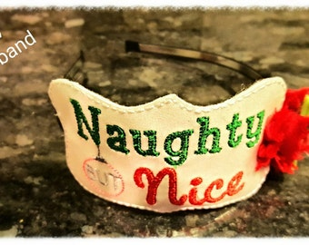Naughty but nice glitter Headband