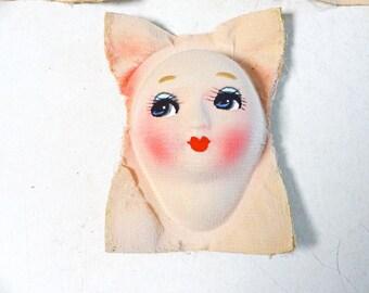 1pc 50s Vintage Japanese Fiber Doll Head for Doll making