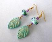 handmade lampwork mint earrings