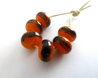 handmade orange webs lampwork glass beads, UK set