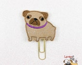 Glitter Vinyl Embroidered Planner Paper Clip - Standing Pug