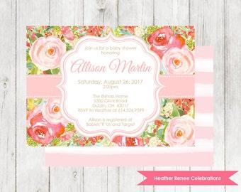 Flower Baby Shower Invitation | Printable Floral Baby Shower Invite |  Baby Sprinkle Digital File