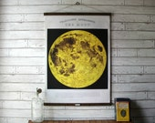 Vintage Moon Pull Down Chart Reproduction with Canvas Print and Oak Wood and Brass Hanger