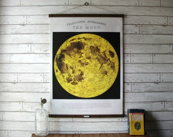 Moon Chart / Vintage Reproduction / Canvas Fabric or Paper Print / Oak Wood Hanger and Brass Hardware / Organic Milk Paint & Wax Finish