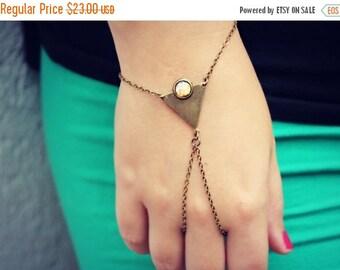 FALL SALE triangle pink opal slave bracelet, geometric bracelet, bracelet ring, ring bracelet, pink opal bracelet
