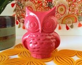 SALE - Midcentury Modern Ceramic Owl Planter From 1960s Vintage Mold, Bright Fuchsia Owl- Handmade Mid Mod, vintage style- indoor or outdoor