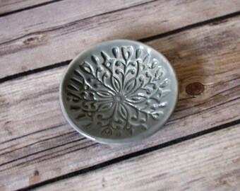 Gray Ring Dish - Grey Trinket Holder - Handmade Jewelry Bowl -  Scandinavian Floral Pattern - Scandi Decor - Folk Art Dish - Modern Bohemian