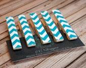 Aqua Blue Chevron Clothespin Magnets - Aqua Blue Magnet Set