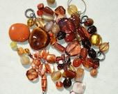 Brown & Orange Glass, Gemstone, Acrylic Bead Lot - Jewelry Making Supplies