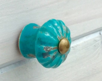Rustic Turquoise Knob Farmhouse Cabinet Knob Dresser Knob Furniture Knob Rustic Shabby Chic