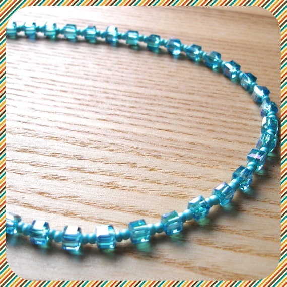 Unique Glass Crystal Bead Necklace - Cute Cube Jewellery - 2 Colours Available, Orange, Turquoise - 18th 21st birthday gift sister daughter
