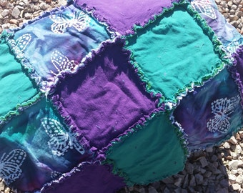 Indonesian Batik Butterfly, Jade and Purple Rag Quilt