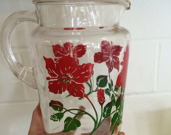 Vintage Red Floral Pitcher and 3 glasses