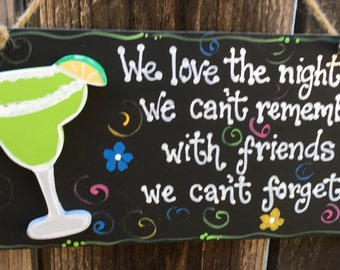 MARGARITA Nights We Cant Remember Sign Beach Decor Wood Tiki Bar Home