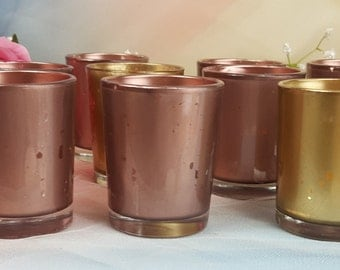 30 Rose Gold Mercury Glass Votive Candle Holders /  parties / holidays / weddings / gift / Wedding Centerpiece / Events / BEST VALUE