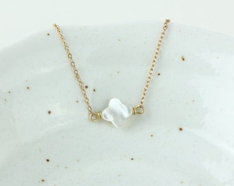 ON SALE Delicate simple everyday tiny sideway alhambra ivory mother of pearl clover necklace