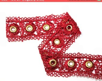 SALE 2 YARDS Red Lace Trim Ribbon with Gold Eyelets