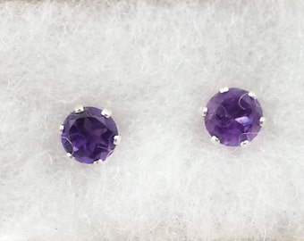 Amethyst Sterling 6mm Stud Earrings