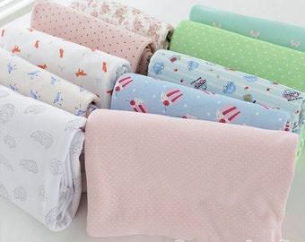 Cotton Knitted Fabrics, Cartoon Pattern, Fresh Blue Red Gray fabric, Stretch Fabric, Cartoon Knitted Fabrics 1/2 Yard (QT826)