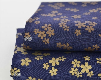 Japanese Cotton Fabric Gilding Sakura Kimono Cotton With Gilding Waves 1/2 Yard QT907