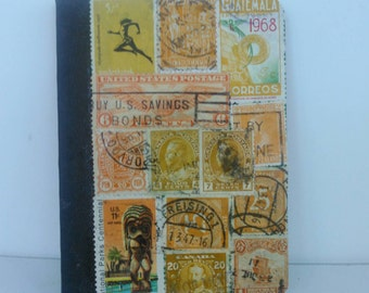 Yellow pocket notebook recycled vintage postage stamp collage unique travel gift mini composition travel pad