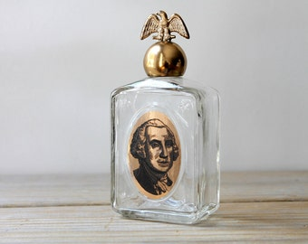 George Washington vintage glass bottle / eclectic home decor / rustic style decor / Americana / curiosity / for altered art / patriotic