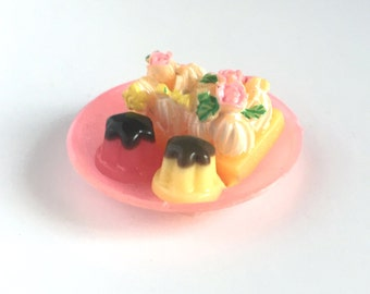 Tea Cakes from Candyland - Vintage pink dolly plate with tea cakes, rement - for your Antoinette Blythe