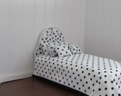 Doll Bed Mattress for 11 1/2 inch dolls Hearts Dots Bedspread White Tufted Mattress  Pillows
