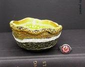 Bohemian Ring Bowl - Lime Ivy Green Ebony Bronze Ivory - Gypsy Ring Bowl - Boho Hippie Bowl - Handmade Textured Polymer Bowl
