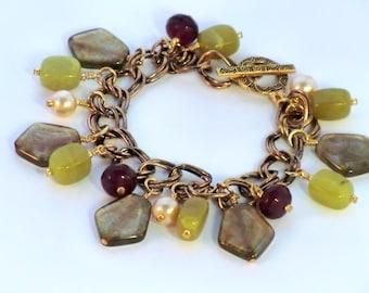 Boho Yummy Cranberry bracelet, light olive green agate, and gold dangle cha cha bracelet, lime, maroon and gold earthy dangle bracelet