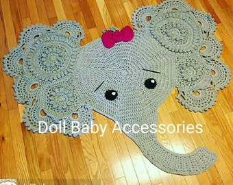 Crochet Elephant Rug Nursery Decor Photography Prop
