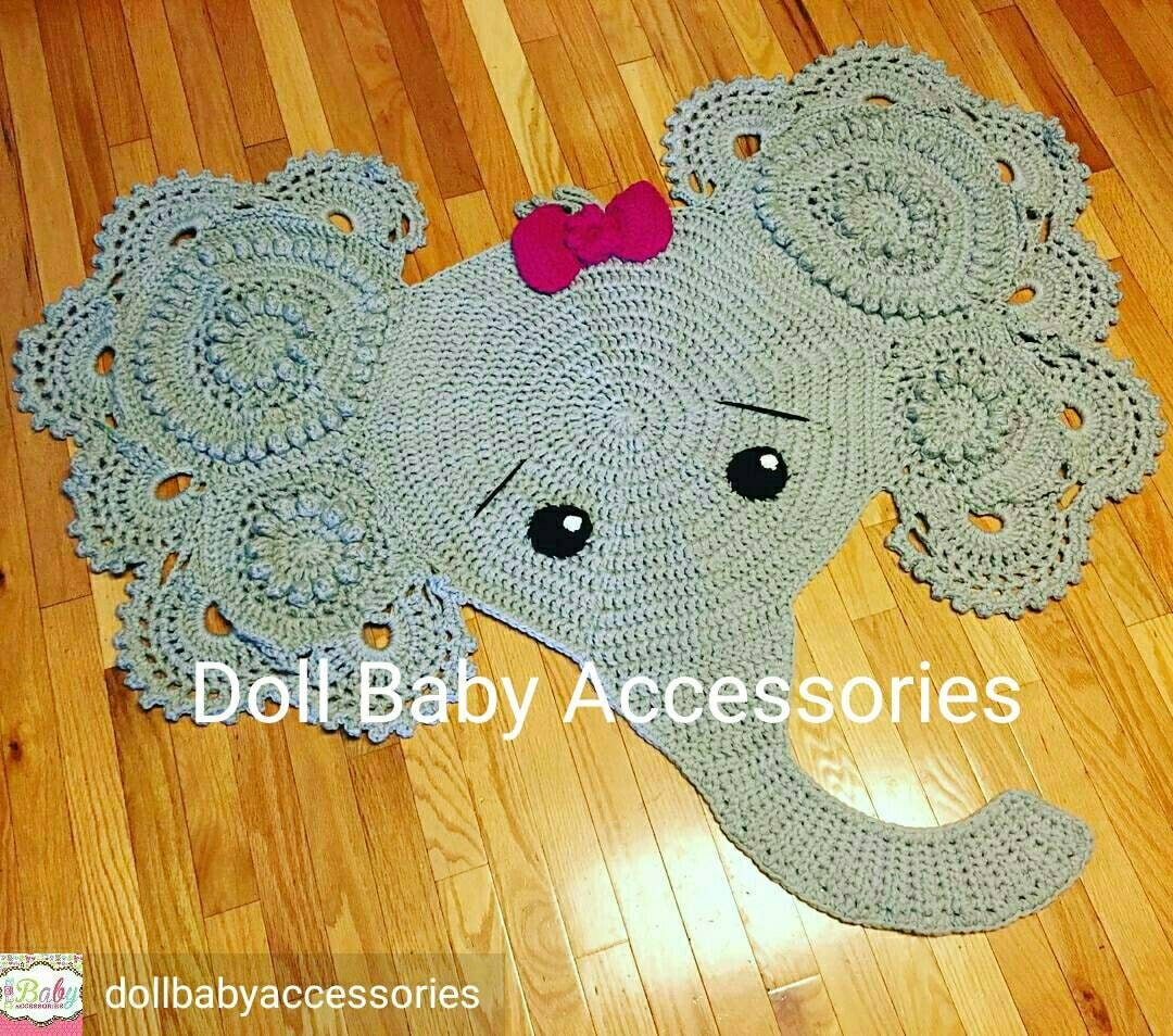 Crochet Elephant Rug : Crochet Elephant Rug Nursery Decor by DollBabyAccessories on Etsy