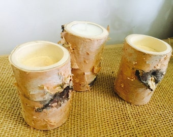 "3 Small Birch Candle Holders, 2"" diameter & 3"" tall - Rare Peely River Birch, holds 1.25"" tea light -"
