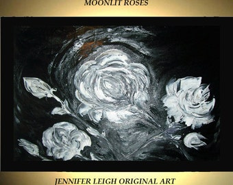 "Original Large Abstract Painting Modern Acrylic Painting Oil Painting Canvas Art Black White MOONLIT ROSES 36x24"" Textured Wall Art  J.LEIGH"